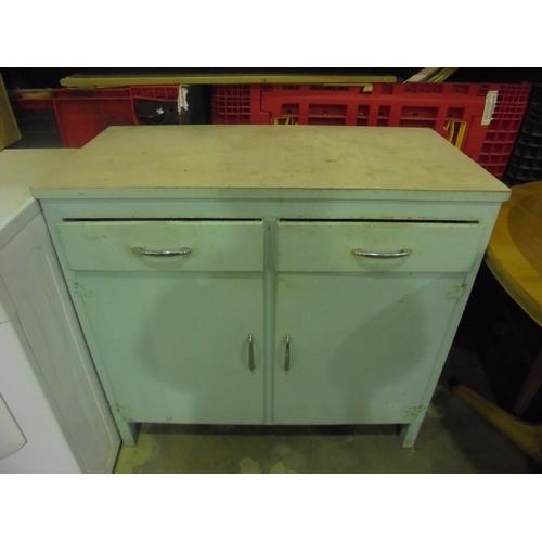 10 - Vintage melamine storage cupboard with 2 drawers...