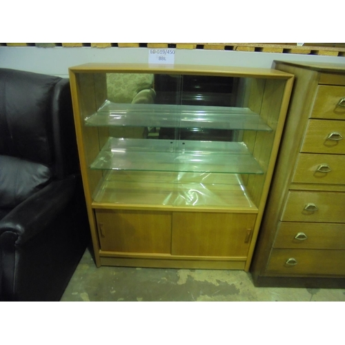25 - Glass fronted display cabinet with sliding doors...