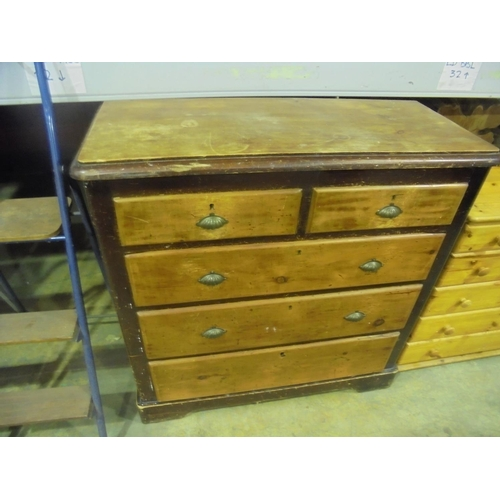 29 - Antique pine 2 over 3 chest of drawers with metal shell handles...