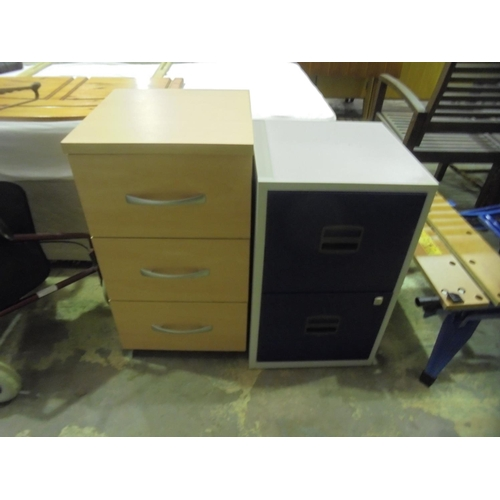 37 - Beech set of drawers and 2 drawer filing cabinet with no key...