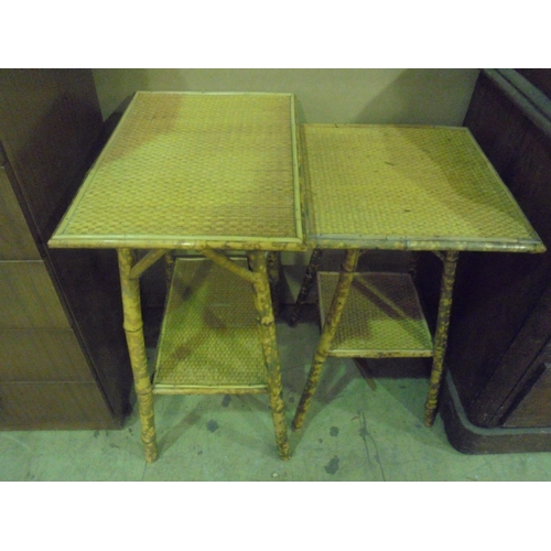 4 - Pair of bamboo cane occasional tables...