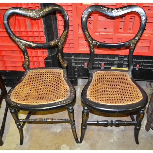 49 - Near pair of black lacquer Victorian bedroom chairs...
