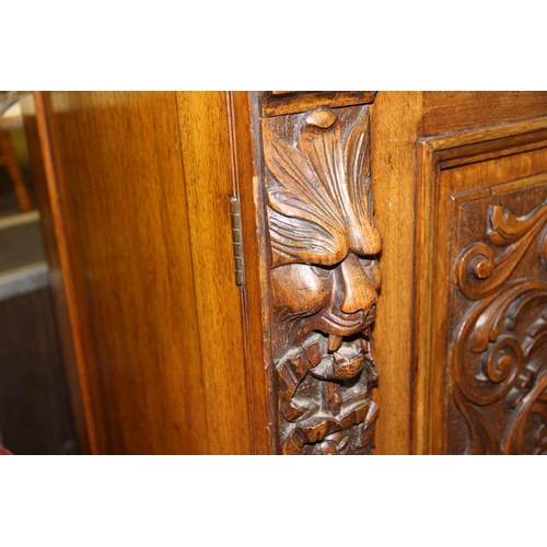 60 - Antique gothic carved mirror backed sideboard oak/mahogany...