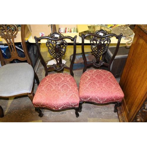 61 - Pair of dark wood Victorian bedroom chairs...