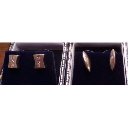 10 - Lot of 2x Pairs of Diamond Set Ear Rings...
