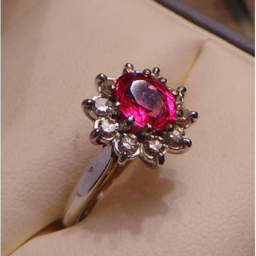 17 - 18ct Diamond and Ruby Cluster Ring...
