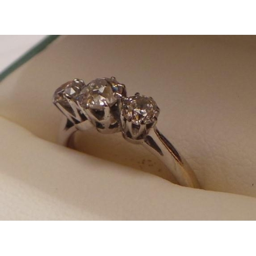 19 - 18ct Antique Diamond 3 Stone Ring .80 caret...
