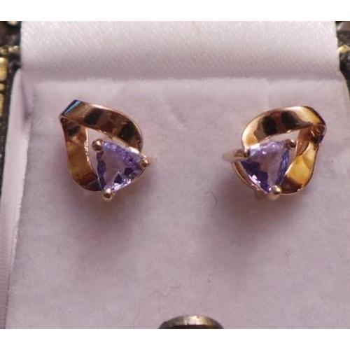 27 - Pair of 9ct Gem set Ear Rings...