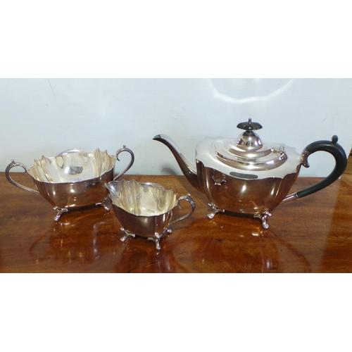 59 - 3 Piece Silver Plate Tea Set...