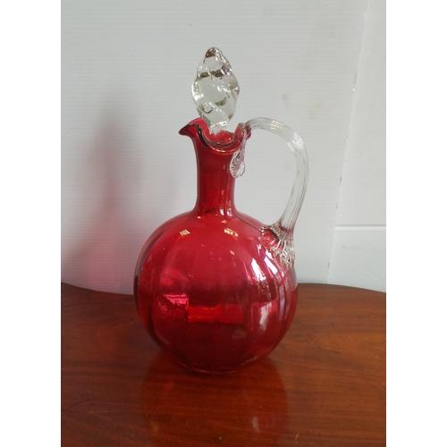 1 - Cranberry Glass Decanter...