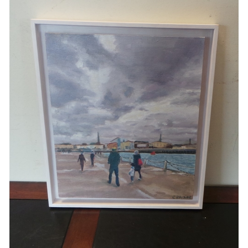 50 - Caroline Browne Oil Painting Dun Laoighaire - Winter Walk...