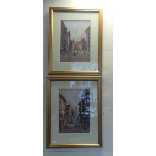 60 - Pair of Gilt Framed Watercolours 'Street Scenes'...
