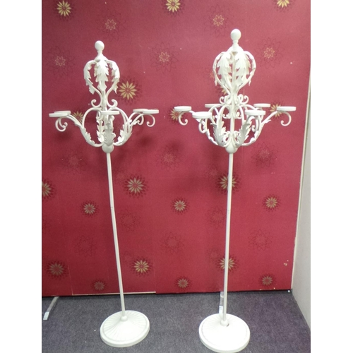 11 - Pair of Tall Cream Candelabras...