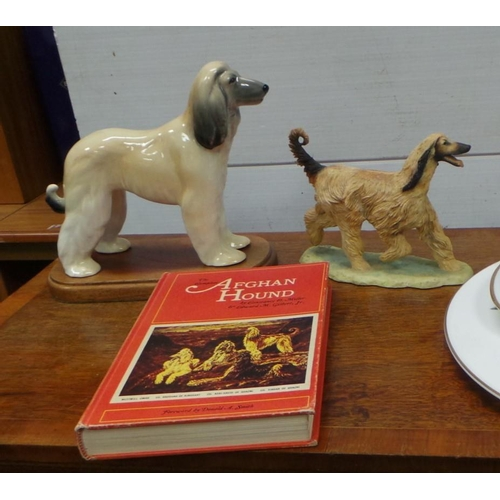 18 - Ceramic Model of Afghan Hound , Composition Model of Afghan Hound and Book