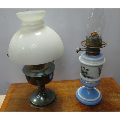 32 - Painted Glass Oil Lamp Base and Antique Table Lamp...
