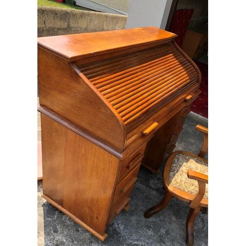 51 - Oak Roll Top Desk...