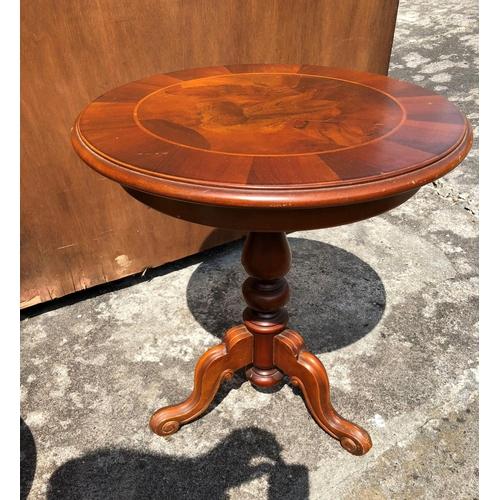 56 - Circular Mahogany Reproduction Inlaid Table...
