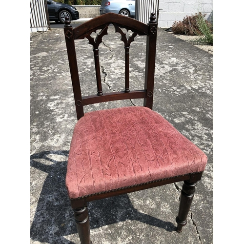 58 - Gothic Style Mahogany Hall Chair with Pink Upholstered Set...