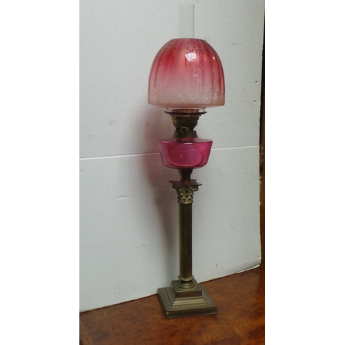 47 - Brass Corinthian Column Double Burner Oil Lamp with Victorian Cranberry Etched Shade and Victorian C...