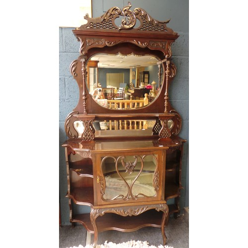 1 - Edwardian Mahogany Mirrored Display Cabinet, 220cm high x 120cm wide...