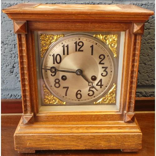 3 - Oak Mantel Clock...