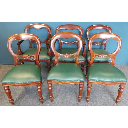 9 - Set of 6 x Reproduction Mahogany Balloon Back Chairs with green faux leather seats covers...