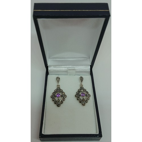 26 - Silver Marcasite and Amethyst Earrings...