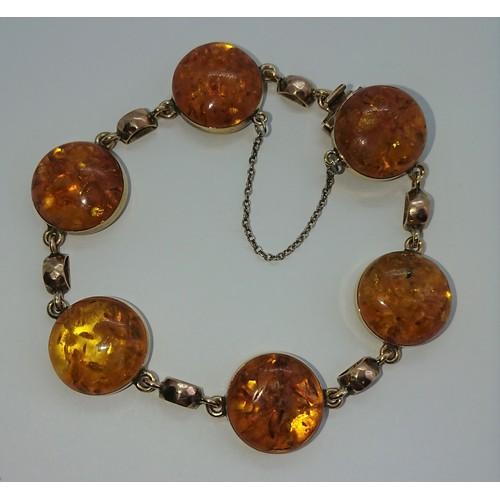 29 - Antique Gold Amber Bracelet...