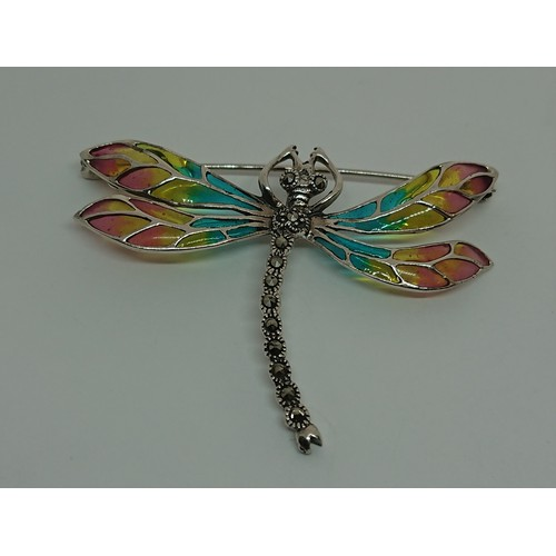 32 - Silver Enamel Dragonfly Brooch...