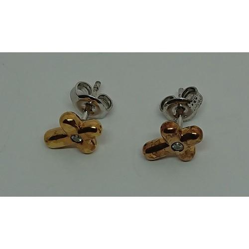 33 - Silver Gilt Diamond Set Earrings, 0.04c...