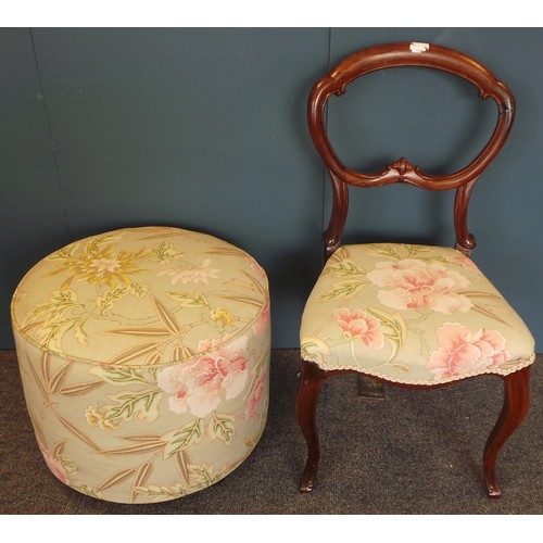 11 - Victorian Mahogany Cabriole Leg Chair and Upholstered Footstool in matching fabric....