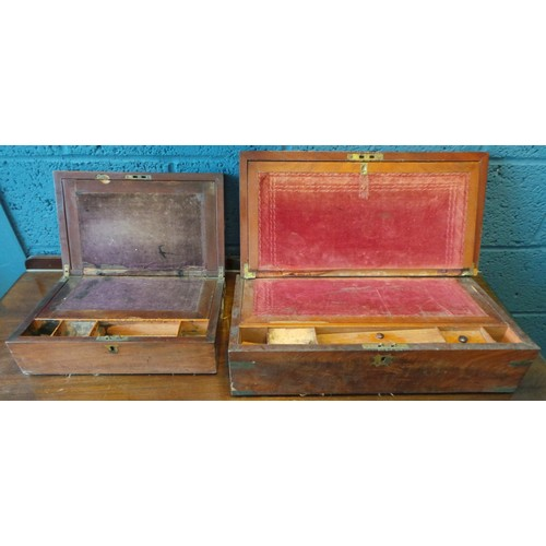 14 - Lot of 2x Writing Boxes (as found)...