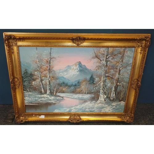 37 - Winter Scene Painting Oil On Canvas in Gilt Frame, 65cm high x 90cm long...