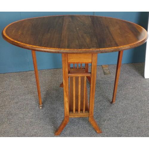 45 - Inlaid Oval Drop-Leaf Table...