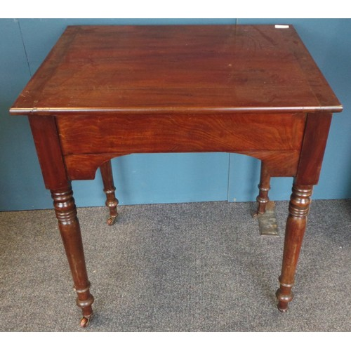 47 - Victorian Mahogany 2 Drawer Table on Castors, 74cm high x 66cm wide x 53cm deep....