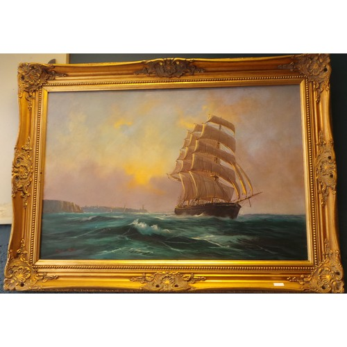 6 - Gilt Framed Oil on Canvas 'Ship at Sea' by David Short...