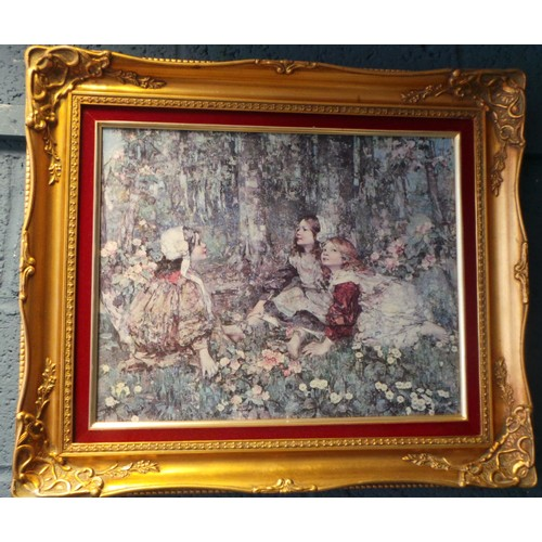 12 - Gilt Framed Hornel Print - Woodland Children Picture...