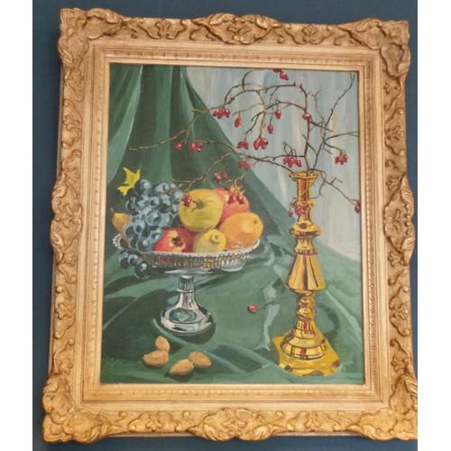 13 - Framed Oil on Canvas Still Life Signed Watt...