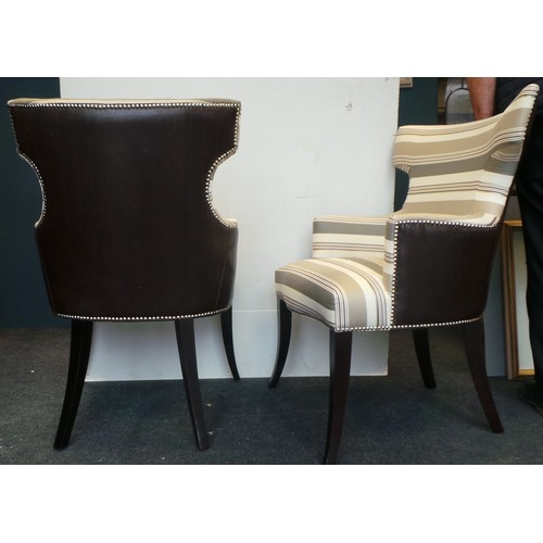 14 - Pair of Striped Upholstered Chairs...