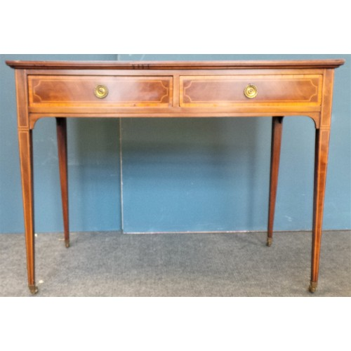 15 - Inlaid Mahogany Side Table/Dressing Table with Drawers...