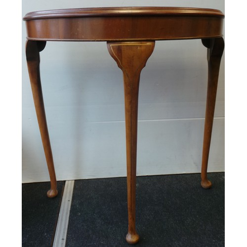 25 - Walnut Half-Moon Table with Painted Floral Decoration...