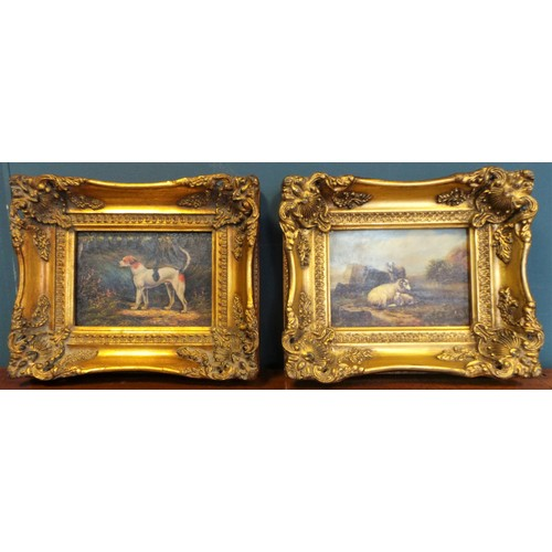 26 - Pair of Gilt Frame Pictures: Beagle & Sheep...