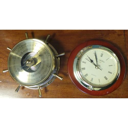 34 - Ships Wheel Barometer and Clock...