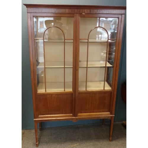 35 - Edwardian Mahogany Two-Door Display Cabinet...