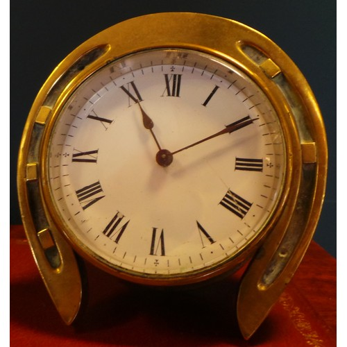 40 - Brass Horseshoe Clock...