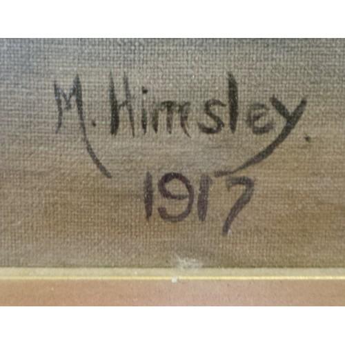 47 - Coastal Scene, Painting signed M. Himsley, 1917...