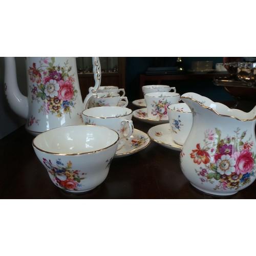 60 - A Hammersley Bone China Floral Coffee Set (6 x Cups, 6 x Saucers, Milk Jug, Sugar Bowl and Coffee Po...