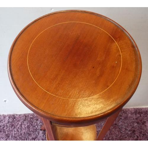 21 - Mahogany Circular Inlaid Plant Stand  96cm high and the top is 32cm...