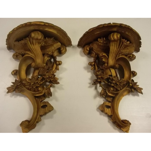 58 - Pair of Gilded Wooden Sconces, 45cm high x 34cm wide (each)...