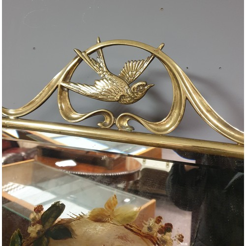 57 - Early 20th Century Brass fire screen with swallow and hand painted floral decoration...